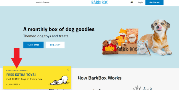 Barkbox Crime Junkie affiliate landing page