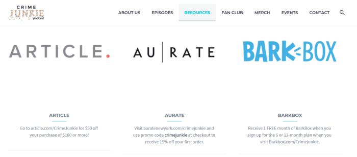 Crime Junkie site affiliate links