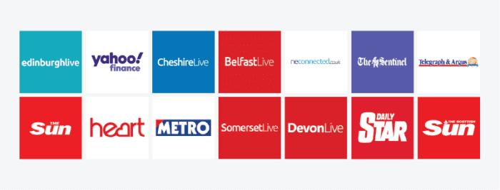 Glass Digital - Where We Built Links 2020 - national and regional publications logos