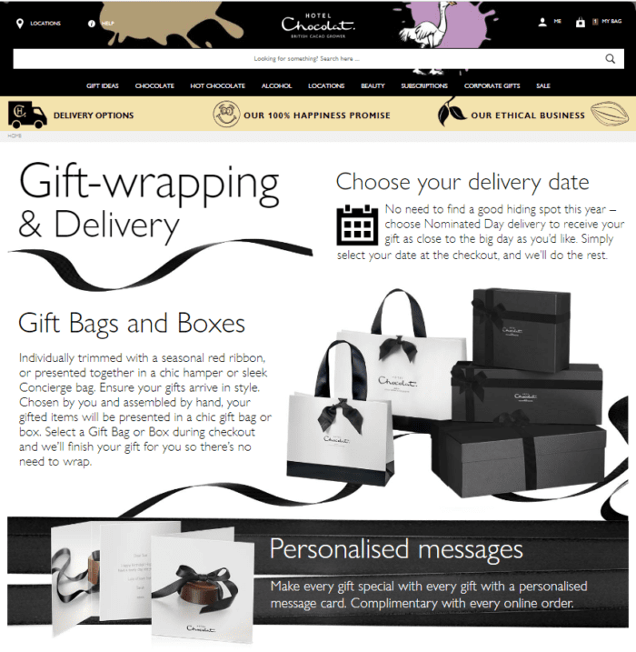 Hotel Chocolat gift wrapping and delivery page