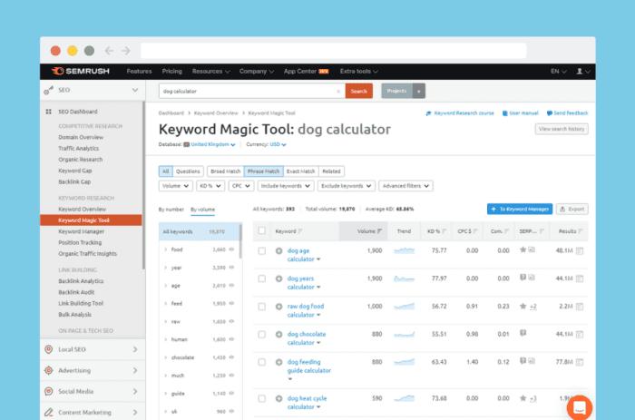 SEMrush keyword research results for 'dog calculator'